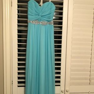 Prom dress strapless and blue floor length
